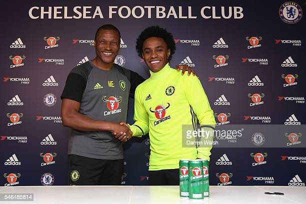 Michael Emenalo and Willian at Chelsea Training Ground on July 12 2016 in Cobham England