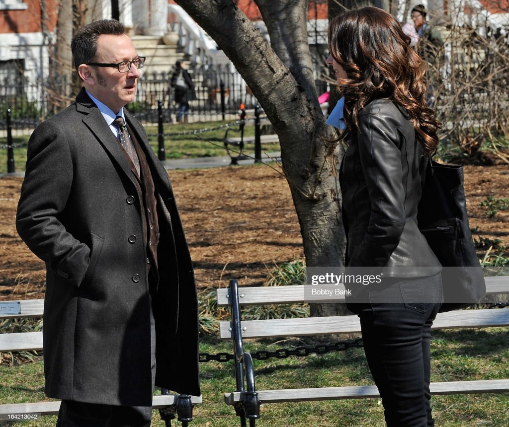 Michael Emerson and Amy Acker filming on location for 'Person Of Interest' on March 20, 2013 in New York City.