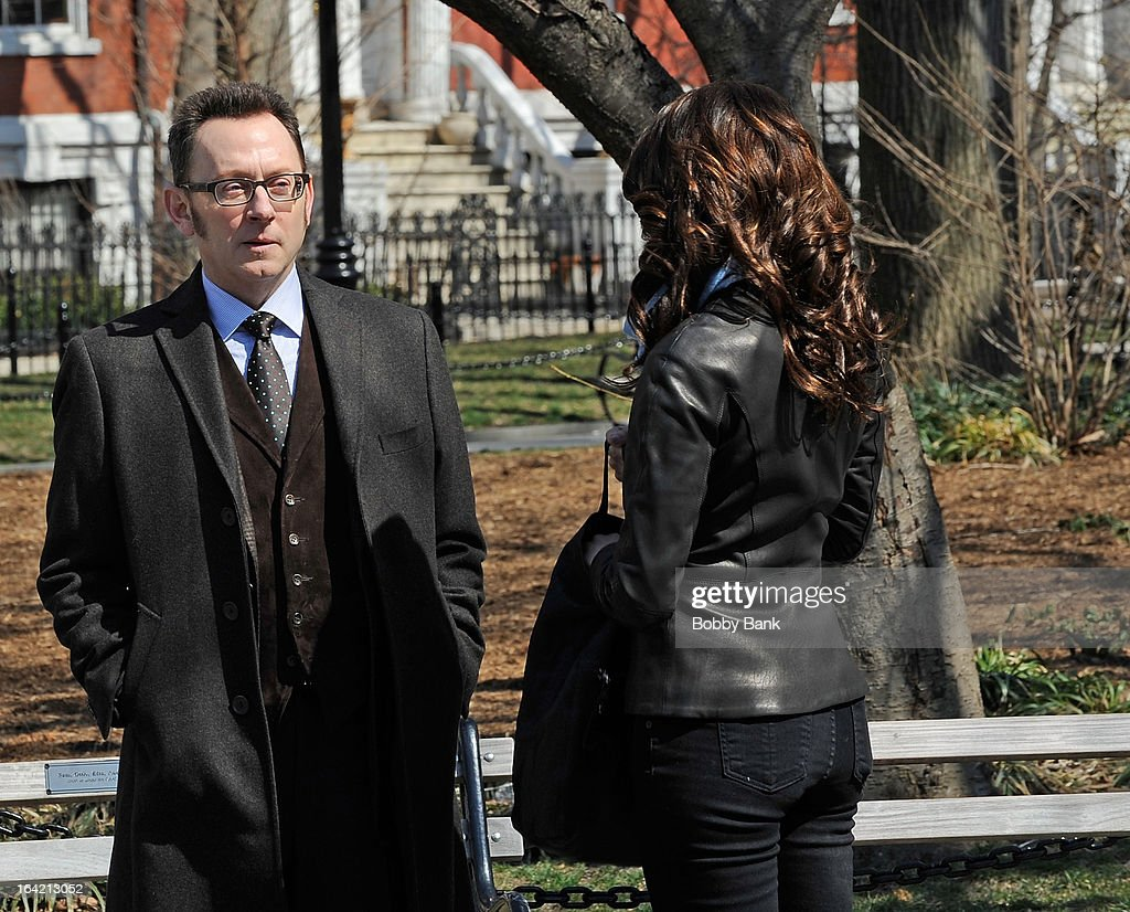 <a gi-track='captionPersonalityLinkClicked' href=/galleries/search?phrase=Michael+Emerson&family=editorial&specificpeople=653299 ng-click='$event.stopPropagation()'>Michael Emerson</a> and <a gi-track='captionPersonalityLinkClicked' href=/galleries/search?phrase=Amy+Acker&family=editorial&specificpeople=715944 ng-click='$event.stopPropagation()'>Amy Acker</a> filming on location for 'Person Of Interest' on March 20, 2013 in New York City.