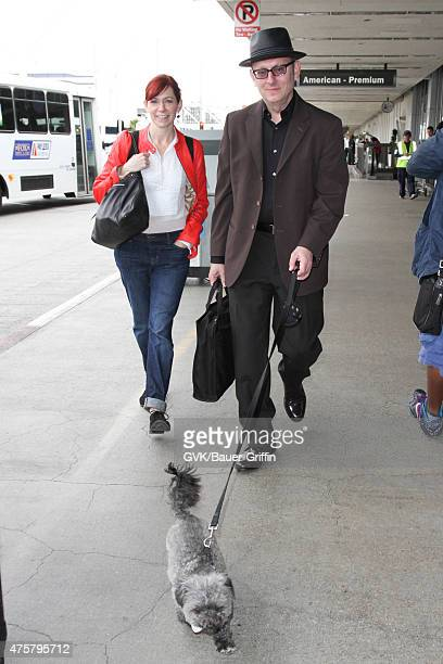 Michael Emerson and Carrie Preston are seen at LAX on June 03 2015 in Los Angeles California