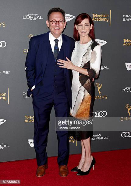 Michael Emerson and Carrie Preston attend the Television Academy reception for Emmy Nominees at Pacific Design Center on September 16 2016 in West...