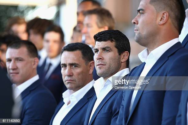 Michael Ennis of the CronullaSutherland Sharks looks on during the NRL Grand Final Fan Day at Sydney Opera House on September 29 2016 in Sydney...