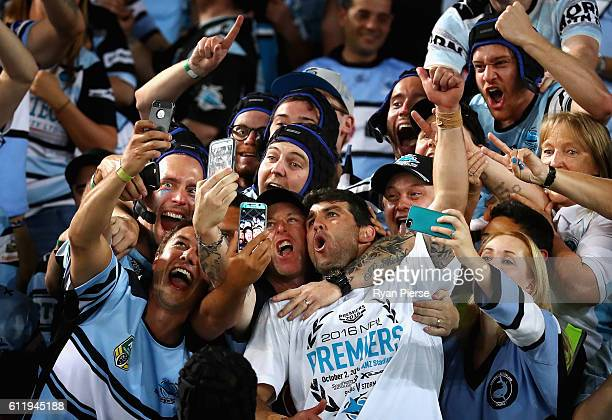 Michael Ennis of the Sharks celebrates victory after the 2016 NRL Grand Final match between the Cronulla Sutherland Sharks and the Melbourne Storm at...