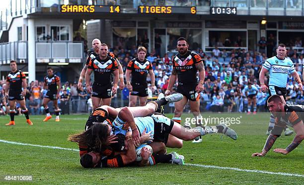 Michael Ennis of the Sharks scores a try in the tackle of Aaron Woods and James Tedesco of the Tigers during the round 24 NRL match between the...
