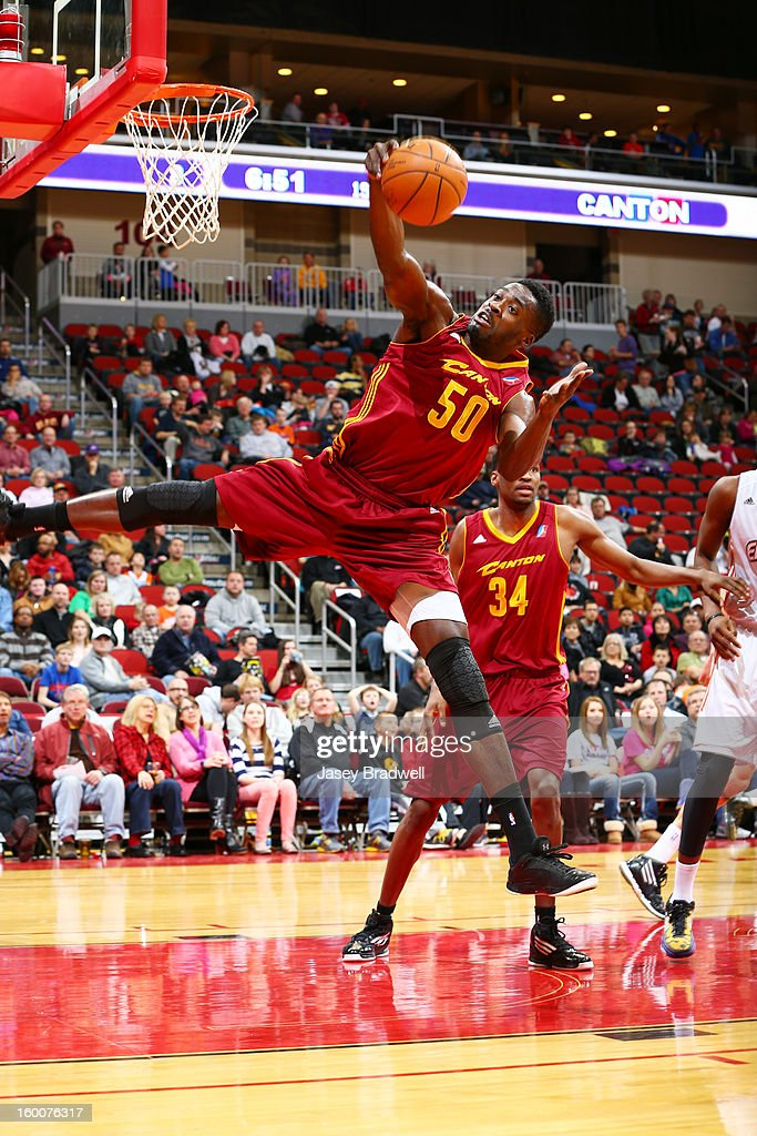 Michael Eric #50 of the Canton Charge works to pull down a rebound against the Iowa Energy in an NBA D-League game on January 25, 2013 at the Wells Fargo Arena in Des Moines, Iowa.