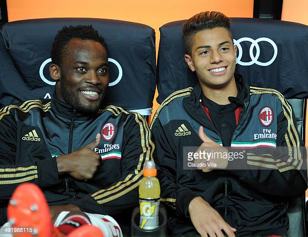 Michael Essien and Hachim Mastour of AC Milan prior to the Serie A match between AC Milan and US Sassuolo Calcio at San Siro Stadium on May 18 2014...