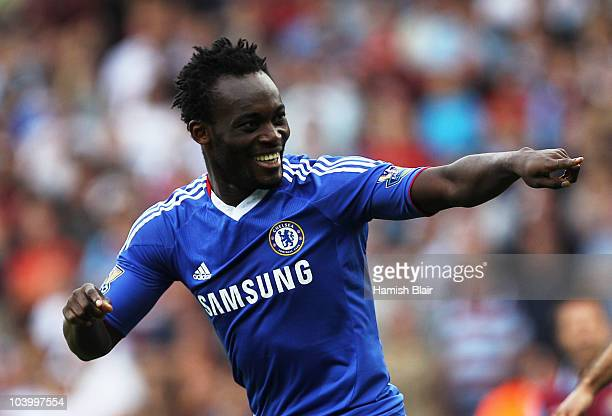 Michael Essien of Chelsea as he scores their first goal during the Barclays Premier League match between West Ham United and Chelsea at the Boleyn...