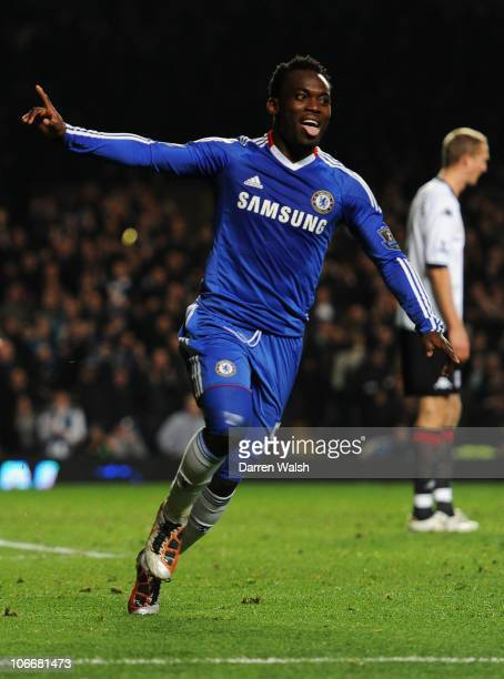 Michael Essien of Chelsea celebrates as he scores their first goal with a header during the Barclays Premier League match between Chelsea and Fulham...