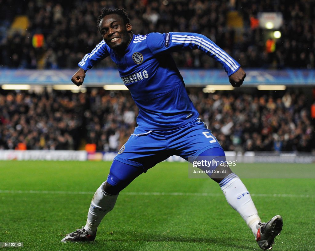 <a gi-track='captionPersonalityLinkClicked' href=/galleries/search?phrase=Michael+Essien&family=editorial&specificpeople=523500 ng-click='$event.stopPropagation()'>Michael Essien</a> of Chelsea celebrates as he scores their first goal during the UEFA Champions League Group D match between Chelsea and Apoel Nicosia at Stamford Bridge on December 8, 2009 in London, England.