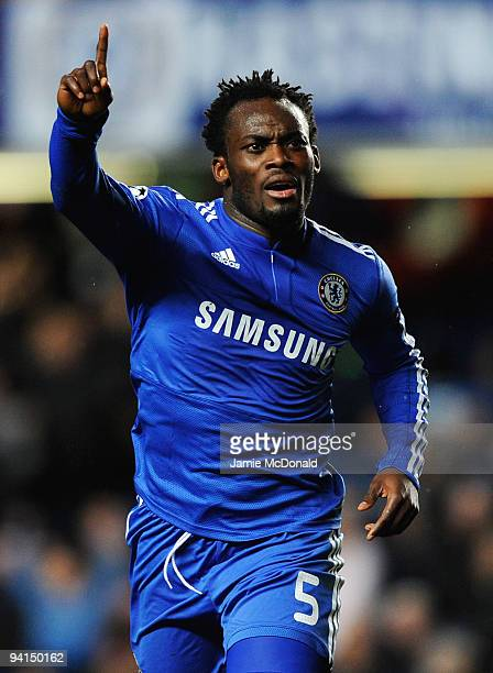 Michael Essien of Chelsea celebrates as he scores their first goal during the UEFA Champions League Group D match between Chelsea and Apoel Nicosia...