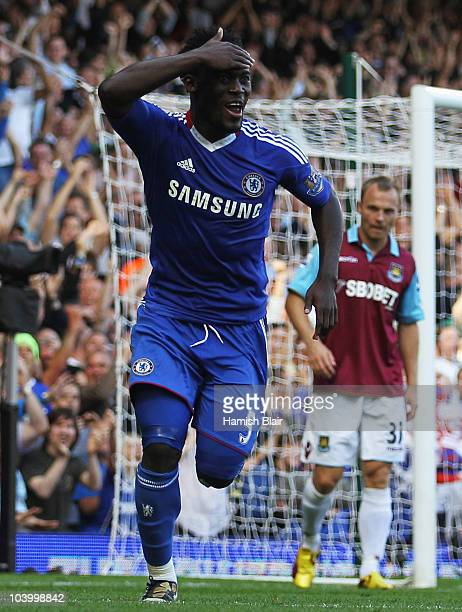 Michael Essien of Chelsea celebrates as he scores their third goal with a header during the Barclays Premier League match between West Ham United and...