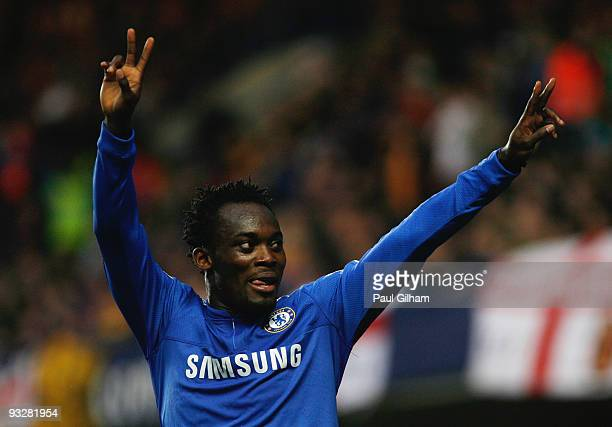 Michael Essien of Chelsea celebrates scoring their second goal during the Barclays Premiership match between Chelsea and Wolverhampton Wanderers at...