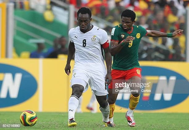 Michael Essien of Ghan with Samuel Eto'O of Cameroon during the CAF African Cup of Nations Semi Final between Ghana and Cameroon played in Accra...