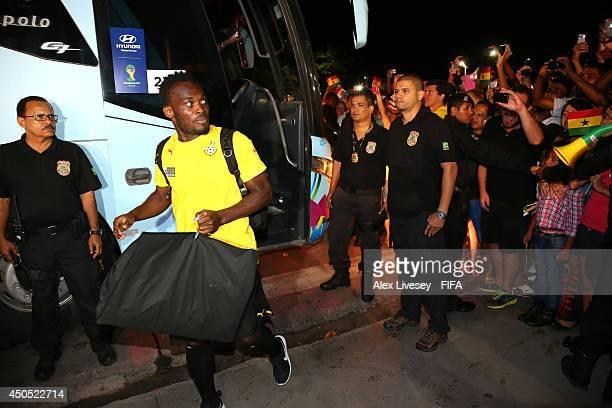 Michael Essien of Ghana arrives at their team hotel on June 11 2014 in Maceio Brazil