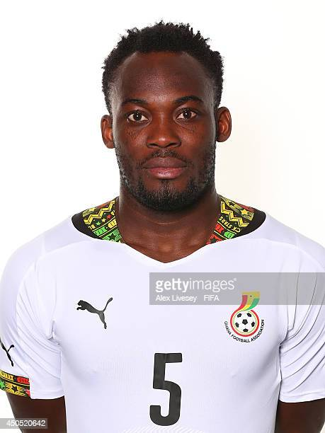 Michael Essien of Ghana poses during the official FIFA World Cup 2014 portrait session on June 11 2014 in Maceio Brazil