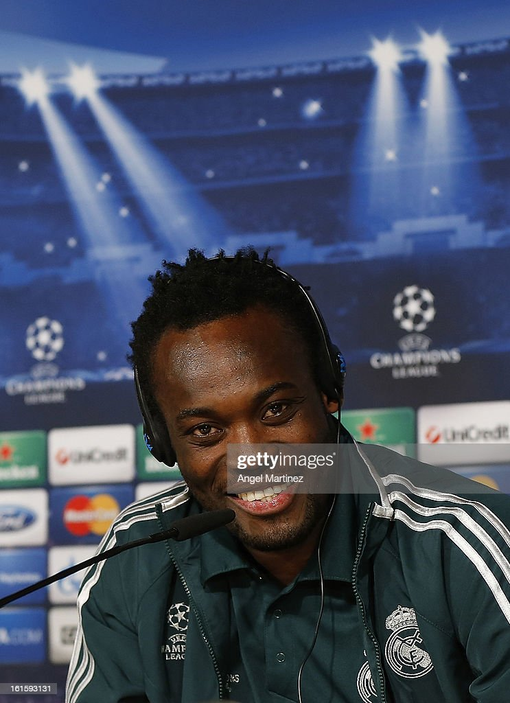 <a gi-track='captionPersonalityLinkClicked' href=/galleries/search?phrase=Michael+Essien&family=editorial&specificpeople=523500 ng-click='$event.stopPropagation()'>Michael Essien</a> of Real Madrid attends a press conference ahead of the UEFA Champions League match between Real Madrid CF and Manchester United at Estadio Santiago Bernabeu on February 12, 2013 in Madrid, Spain.