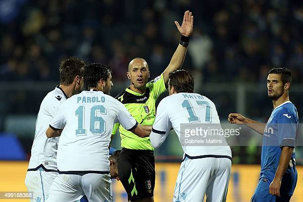 Michael Fabbri referee gestures during the Serie A match between Empoli FC and SS Lazio at Stadio Carlo Castellani on November 29 2015 in Empoli Italy
