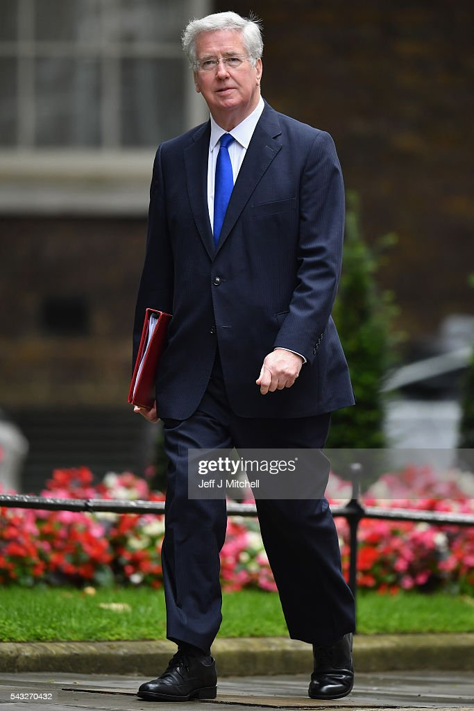<a gi-track='captionPersonalityLinkClicked' href=/galleries/search?phrase=Michael+Fallon+-+Politician&family=editorial&specificpeople=13243418 ng-click='$event.stopPropagation()'>Michael Fallon</a>, Secretary of State for Defence arrives for a cabinet meeting at Downing Street on June 27, 2016 in London, England. British Prime Minister David Cameron is due to chair an emergency Cabinet meeting this morning, after Britain voted to leave the European Union. Chancellor George Osborne spoke at a press conference ahead of the start of financial trading and outlining how the Government will 'protect the national interest' after the UK voted to leave the EU.
