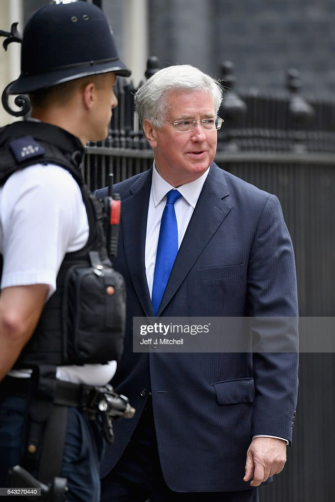 Michael Fallon, Secretary of State for Defence arrives for a cabinet meeting at Downing Street on June 27, 2016 in London, England. British Prime Minister David Cameron is due to chair an emergency Cabinet meeting this morning, after Britain voted to leave the European Union. Chancellor George Osborne spoke at a press conference ahead of the start of financial trading and outlining how the Government will 'protect the national interest' after the UK voted to leave the EU.