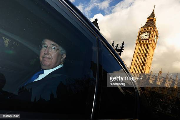 Michael Fallon UK defence minister departs the Houses of Parliament after listening to the Autumn Statement in London UK on Wednesday Nov 25 2015 UK...