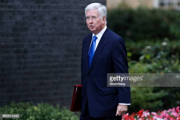 Michael Fallon UK defence secretary arrives for a special cabinet meeting at number 10 Downing Street in London UK on Thursday Sept 21 2017 UK Prime...