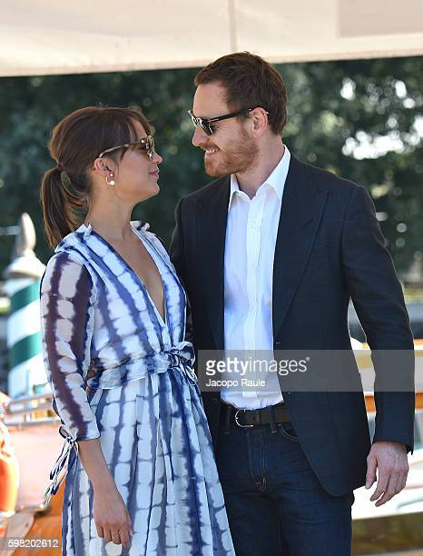 Michael Fassbender and Alicia Vikander are seen during the 73rd Venice Film Festival on September 1 2016 in Venice Italy