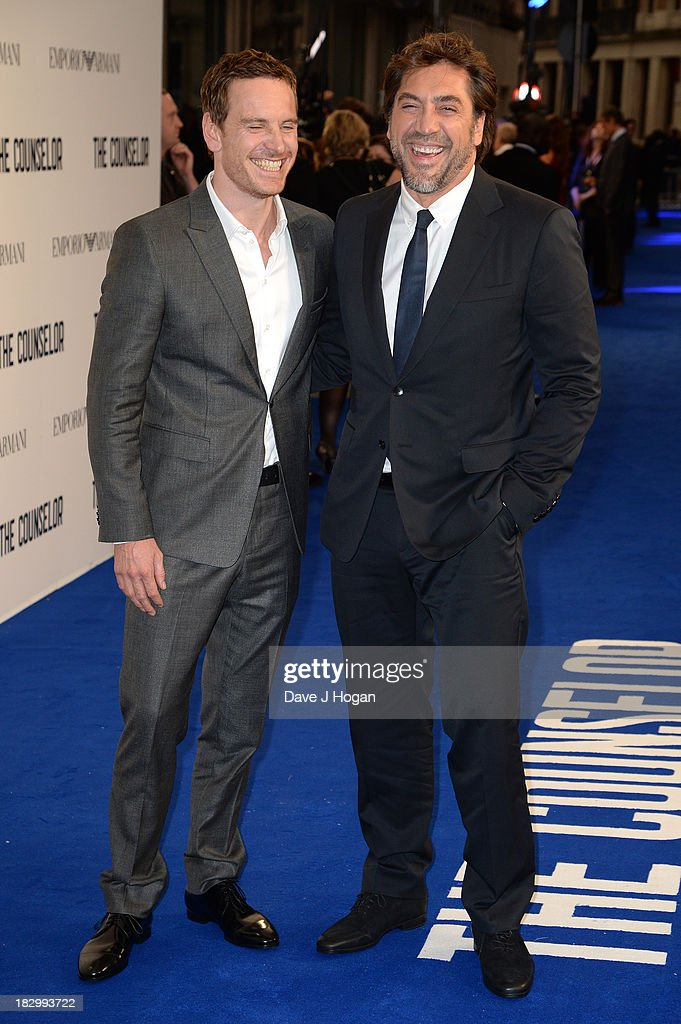 Michael Fassbender and Javier Bardem attend a special screening of 'The Counselor' at Odeon West End on October 3, 2013 in London, England.
