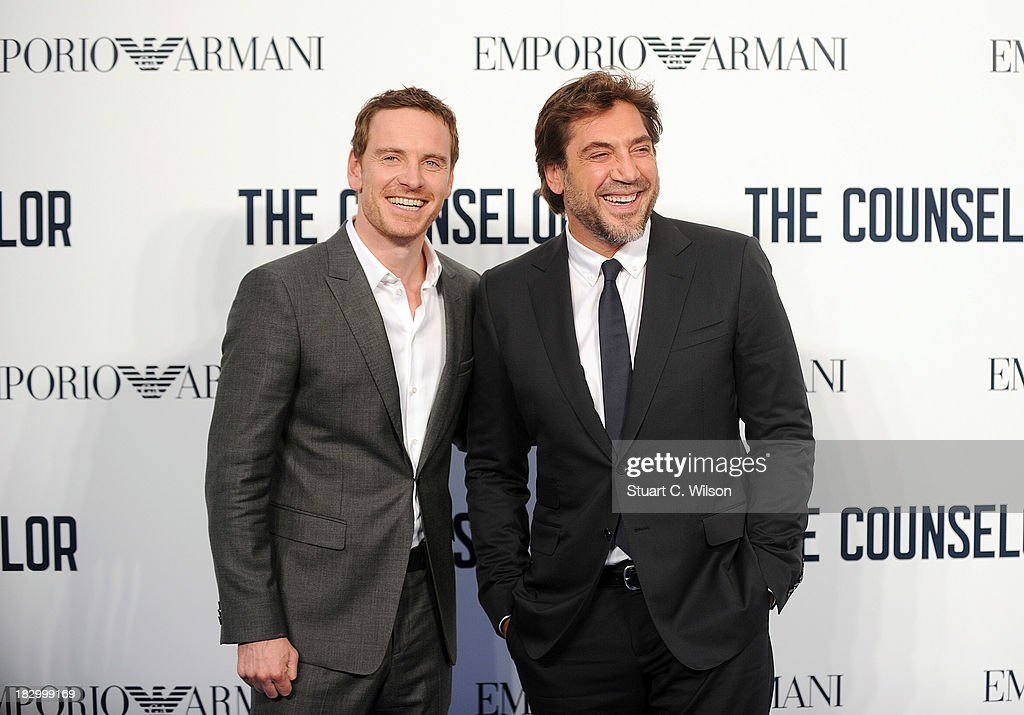 <a gi-track='captionPersonalityLinkClicked' href=/galleries/search?phrase=Michael+Fassbender&family=editorial&specificpeople=4157925 ng-click='$event.stopPropagation()'>Michael Fassbender</a> and <a gi-track='captionPersonalityLinkClicked' href=/galleries/search?phrase=Javier+Bardem&family=editorial&specificpeople=209334 ng-click='$event.stopPropagation()'>Javier Bardem</a> attend a special screening of 'The Counselor' at Odeon West End on October 3, 2013 in London, England.
