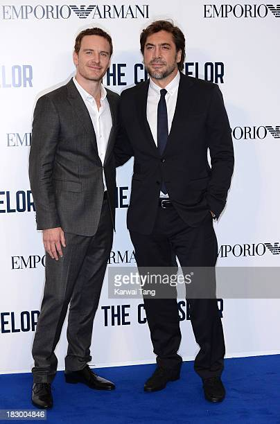 Michael Fassbender and Javier Bardem attend a special screening of 'The Counselor' at the Odeon West End on October 3 2013 in London England