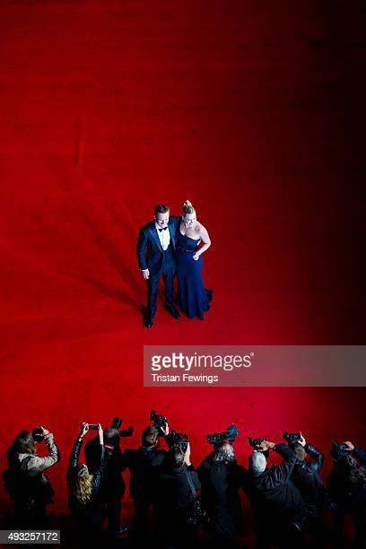 Michael Fassbender and Kate Winslet attend the gala premiere of 'Steve Jobs' on the closing night of the BFI London Film Festival at Odeon Leicester...