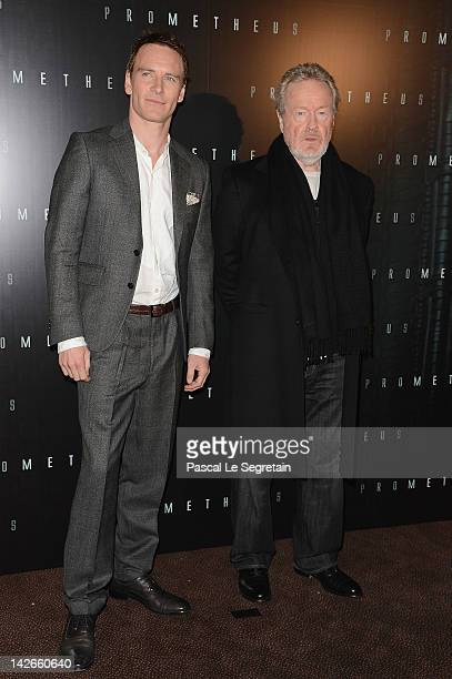 Michael Fassbender and Ridley Scott attend the 'Prometheus' Paris photo call at Cinema Gaumont Marignan on April 11 2012 in Paris France