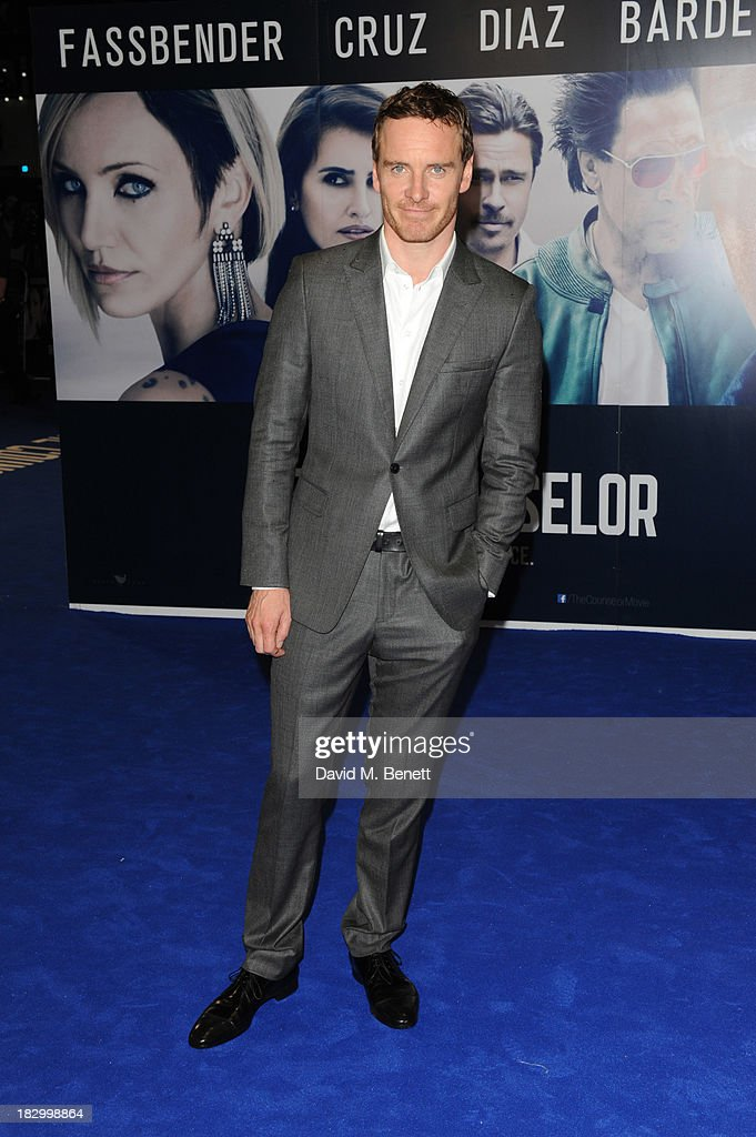 <a gi-track='captionPersonalityLinkClicked' href=/galleries/search?phrase=Michael+Fassbender&family=editorial&specificpeople=4157925 ng-click='$event.stopPropagation()'>Michael Fassbender</a> attends a special screening of 'The Counselor' at the Odeon West End on October 3, 2013 in London, England.