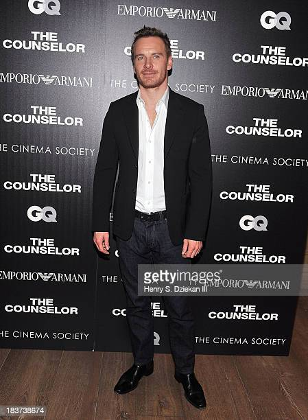 Michael Fassbender attends Emporio Armani with GQ The Cinema Society host a screening of 'The Counselor' at Crosby Street Hotel on October 9 2013 in...