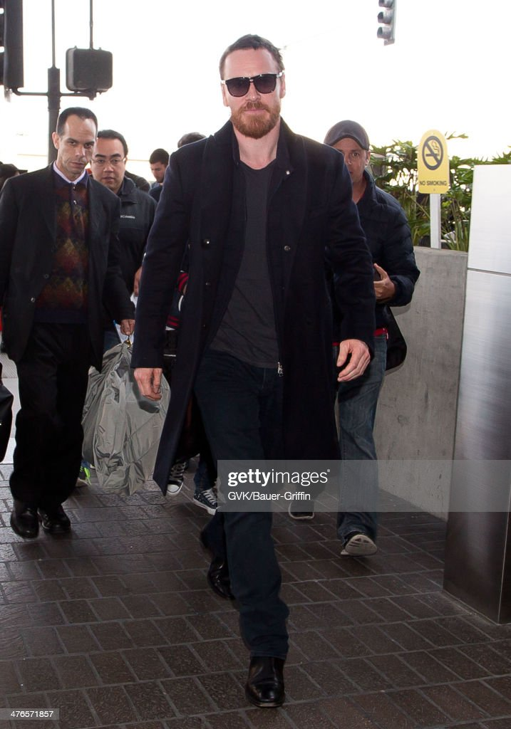 <a gi-track='captionPersonalityLinkClicked' href=/galleries/search?phrase=Michael+Fassbender&family=editorial&specificpeople=4157925 ng-click='$event.stopPropagation()'>Michael Fassbender</a> is seen as he departs out of Los Angeles International Airport on March 03, 2014 in Los Angeles, California.