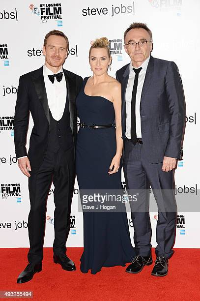 Michael Fassbender Kate Winslet and Director Danny Boyle attend a screening of 'Steve Jobs' on the closing night of the BFI London Film Festival at...