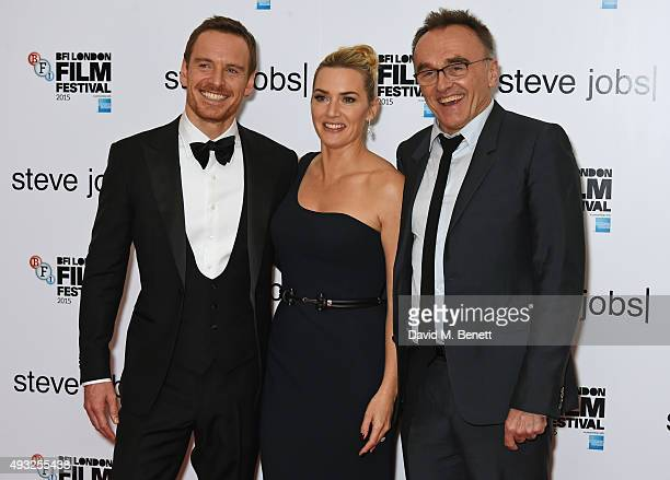 Michael Fassbender Kate Winslet and director Danny Boyle attend a gala screening of 'Steve Jobs' on the closing night of the BFI London Film Festival...