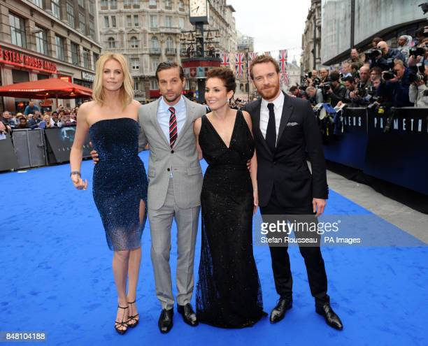 Michael Fassbender Noomi Rapace Logan MarshallGreen and Charlize Theron arrive for the world premiere of the film Prometheus in Leicester Square...