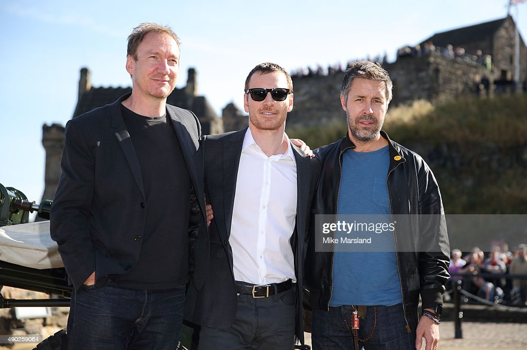 Michael Fassbender Paddy Considine and David Thewlis attend a photocall for 'Macbeth' at Edinburgh Castle on September 27 2015 in Edinburgh Scotland