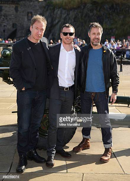 Michael Fassbender Paddy Considine and David Thewlis attend a photocall for 'Macbeth' at Edinburgh Castle on September 27 2015 in Edinburgh Scotland