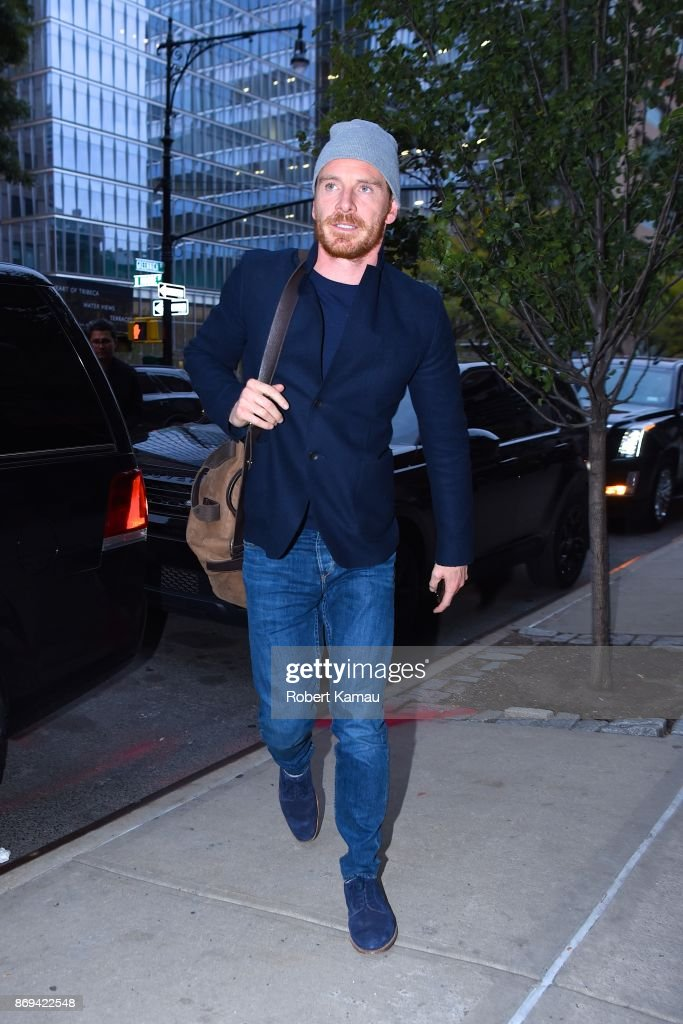 Newly married Michael Fassbender was spotted in NYC on Wednesday, 2 weeks after private ceremony in Ibiza with Alicia Vikander.