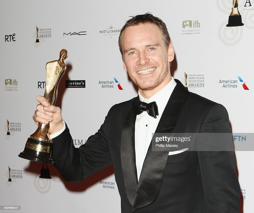 <a gi-track='captionPersonalityLinkClicked' href=/galleries/search?phrase=Michael+Fassbender&family=editorial&specificpeople=4157925 ng-click='$event.stopPropagation()'>Michael Fassbender</a> wins the Supporting Actor Film award for '12 Years a Slave' at the Irish Film And Television Awards on April 5, 2014 in Dublin, Ireland.
