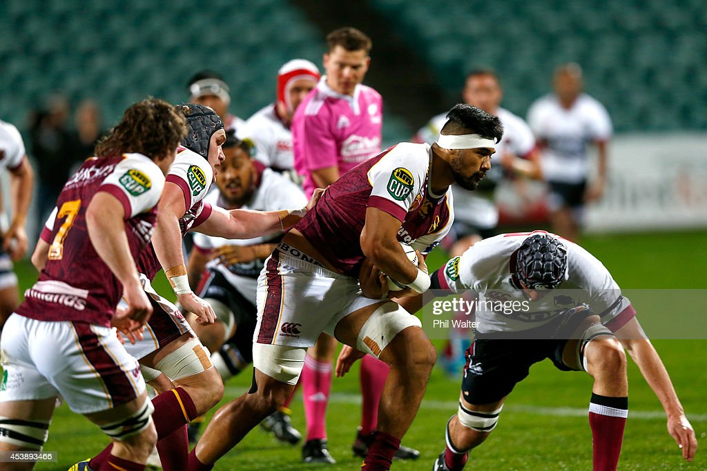 Michael Fatialofa of Southland drives the ball forward during the round two ITM Cup match between North Harbour and Southland at QBE Stadium on...
