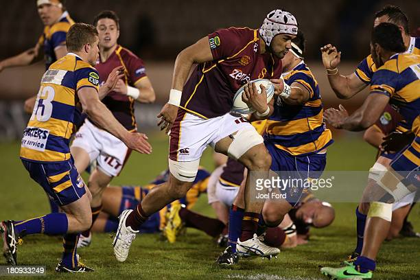 Michael Fatialofa of Southland runs with the ball during the round six ITM Cup match between the Bay Of Plenty and Southland at Bay Park Stadium on...