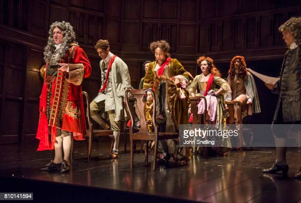 Michael Fenton Stevens as Dr John Radcliffe with the Company perform on stage in a production of 'Queen Anne' by the RSC at Theatre Royal on July 6...