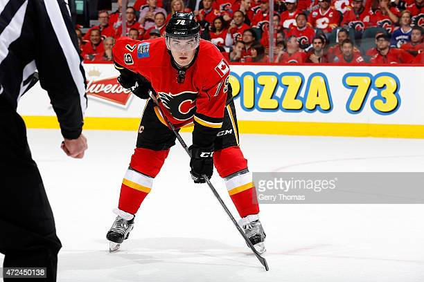 Michael Ferland of the Calgary Flames skates against the Vancouver Canucks at Scotiabank Saddledome for Game Four of the Western Quarterfinals during...
