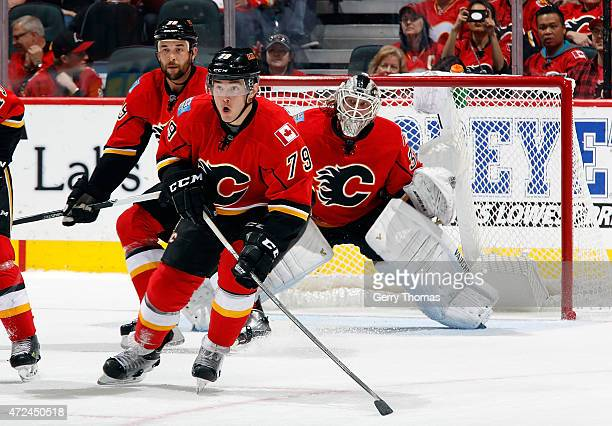 Michael Ferland of the Calgary Flames skates against the Vancouver Canucks at Scotiabank Saddledome for Game Six of the Western Quarterfinals during...