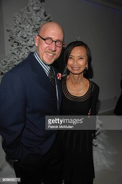 Michael Fink and Josie Natori attend STEVE SADOVE hosts SAKS FIFTH AVENUE Annual Holiday Luncheon at SAKs Fifth Avenue NYC on December 11 2007 in New...