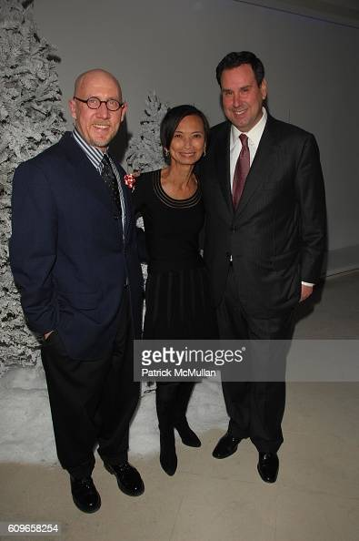 Michael Fink Josie Natori and Steve Sadove attend STEVE SADOVE hosts SAKS FIFTH AVENUE Annual Holiday Luncheon at SAKs Fifth Avenue NYC on December...