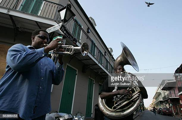 Michael Fisher and Emile Foster play music on Bourbon Street in the French Quarter September 12 2005 in New Orleans Louisiana Music returned to the...
