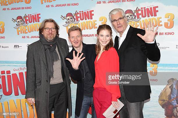 Michael Fitz Michael Kessler Nora von Waldstaetten and Sky du Mont attend the premiere of the film 'Fuenf Freunde 3' at Cinemaxx on January 12 2014...